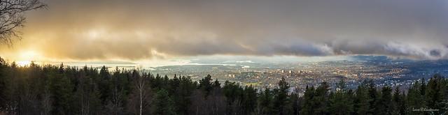A panorama of Oslo, seen from Grefsenkollen