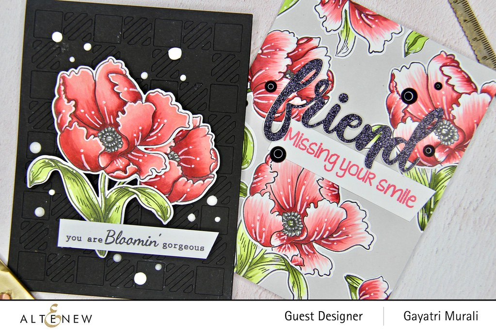Altenew Color therapy blog hop card set closeup1