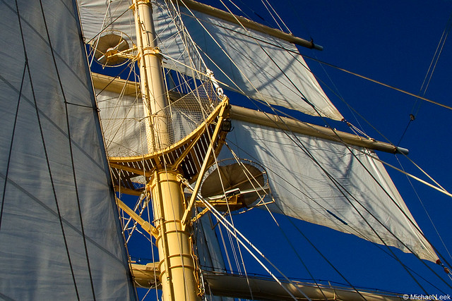 The foremast of Star Clipper's barquentine Star Flyer; North Atlantic