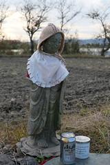 Buddhist statue along a field