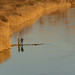 Two men fishing on River Ural, Russia