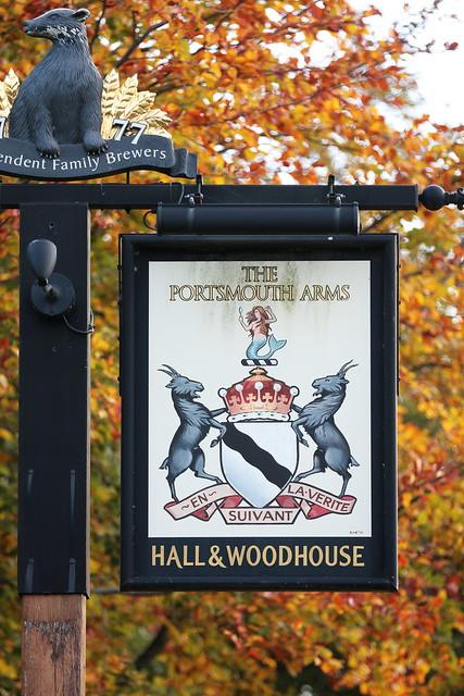 The Portsmouth Arms pub sign Basingstoke Hampshire UK
