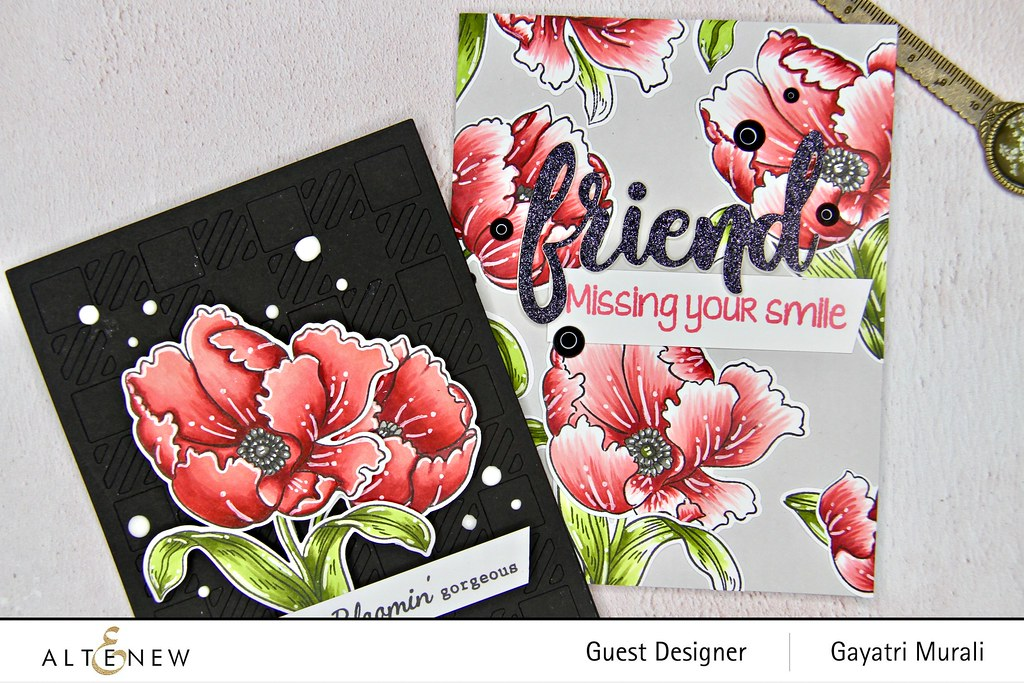 Altenew Color therapy blog hop card set closeup