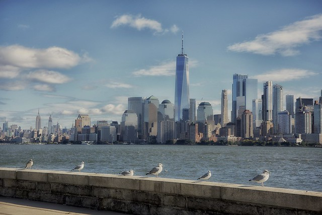 Bird's eye view of Manhattan from Ellis Island, NewYork.