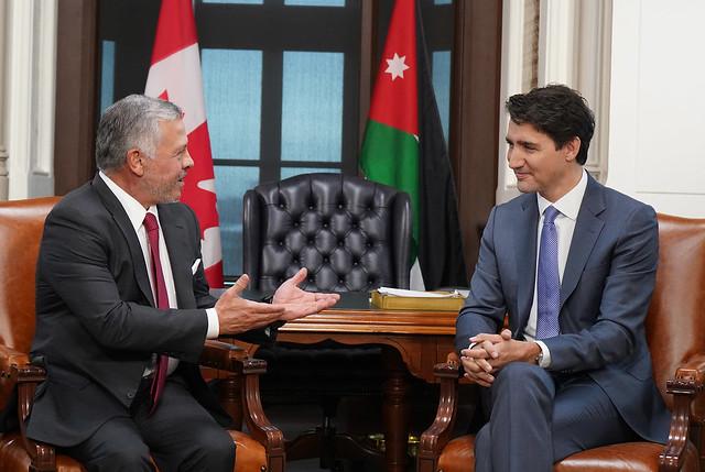 جلالة الملك عبدالله الثاني يعقد مباحثات ثنائية مع رئيس الوزراء الكندي جاستن ترودو في مقر البرلمان الكندي في أوتاوا