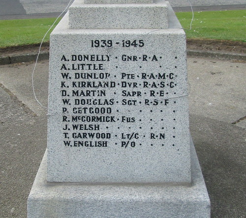 World War 2 Names Whitletts War Memorial