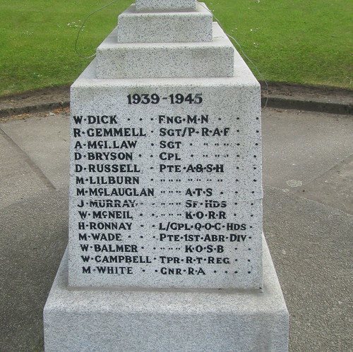 Whitletts War Memorial, More WW2 Names
