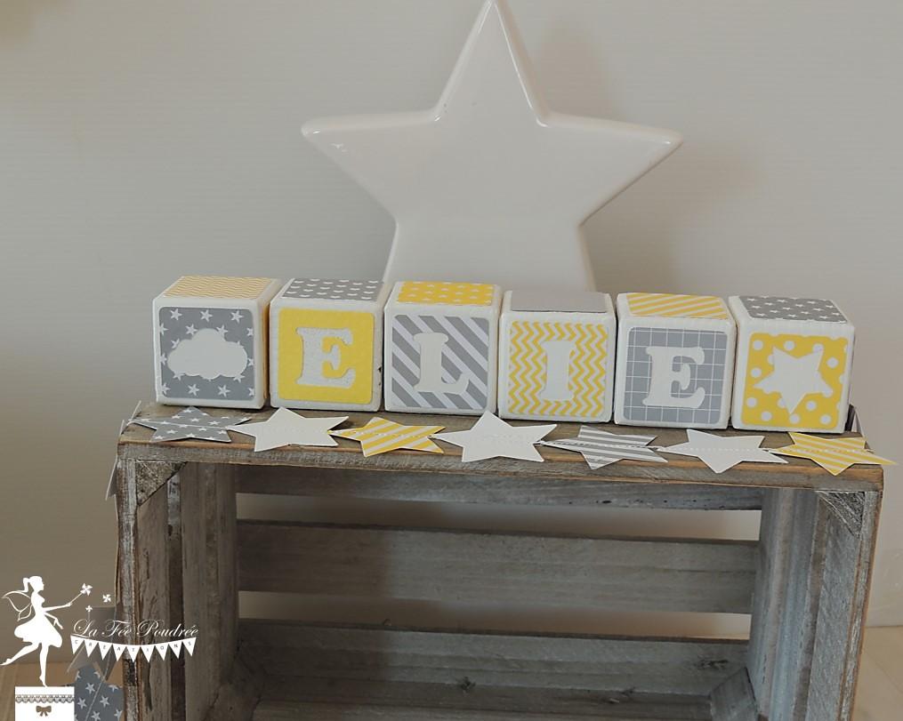 Deco Chambre Jaune Et Gris cube prénom baptême décoration chambre enfant thème étoile