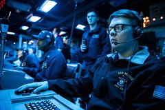 Sonar Technician (Surface) 2nd Class Justin Spahn stands watch as an acoustic sensor operator aboard USS Milius (DDG 69) during Annual Exercise (ANNUALEX) with the Japan Maritime Self-Defense Force in November. (U.S. Navy/MC2 Taylor DiMartino)