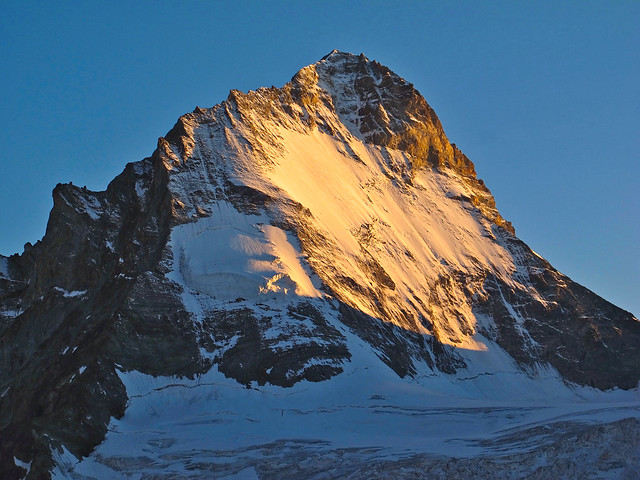 The Dent Blanche (4357 m) in the Valais Alps at the golden hour
