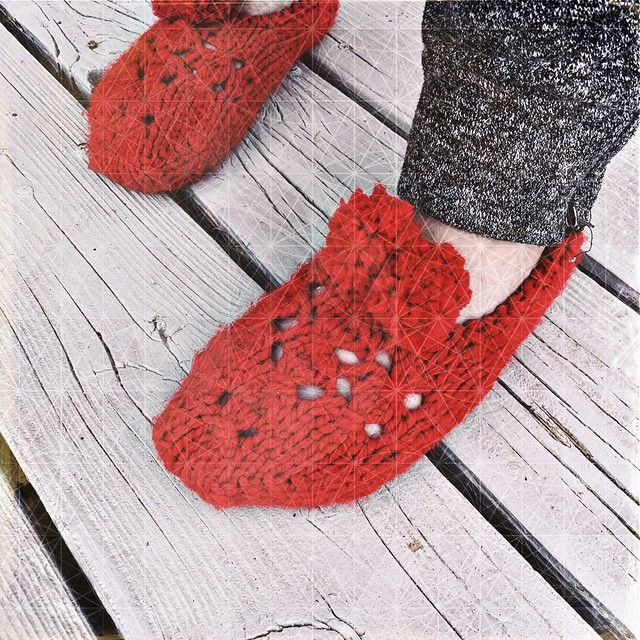 Red Knit Slippers