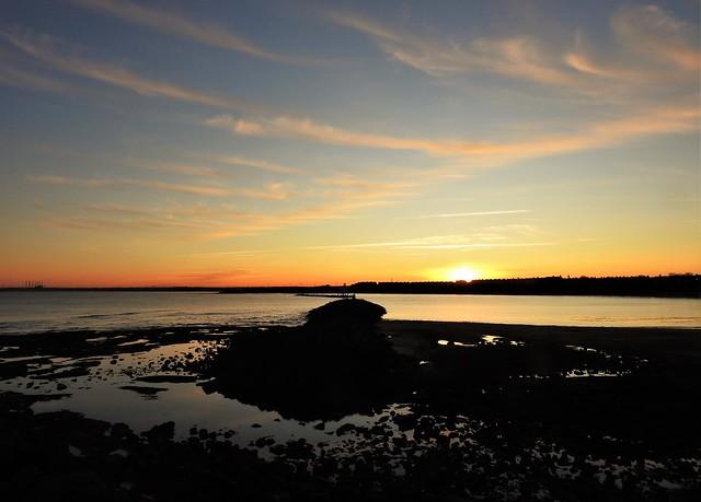 Rocks and Breakwater - Newbiggin Bay at Sunset