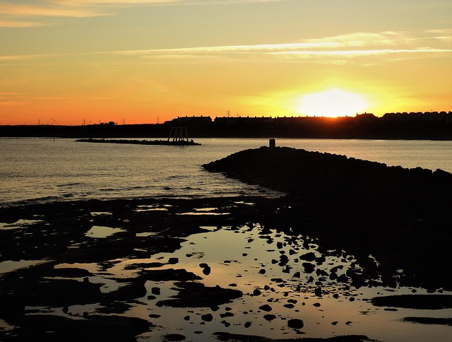 Newbiggin-By-The-Sea - Sunset Over Seafront Houses