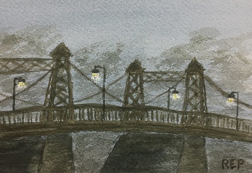 Nocturne: Roebling suspension bridge over the Delaware River at Riegelsville, PA