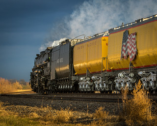 Big Boy 4014 and it's two water cars catch the setting sun