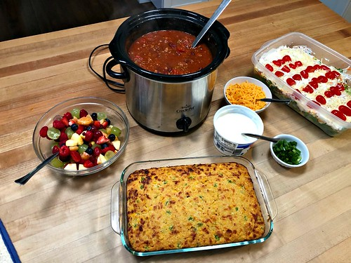 chili and homemade cornbread