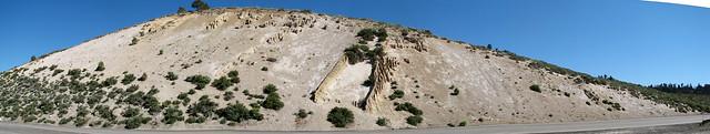 Bishop Tuff over Sherwin Till with clastic dikes (Pleistocene; Sherwin Summit, Owens Valley, California, USA) 1