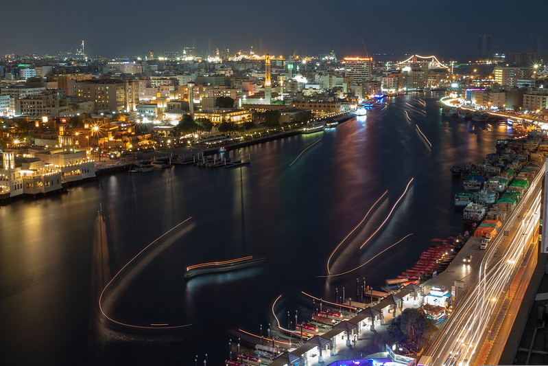 Light trails upon Dubai Creek, Dubai, United Arab Emirates