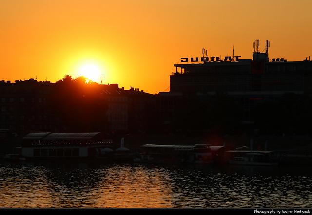 Sunset on the Vistula river, Krakow, Poland