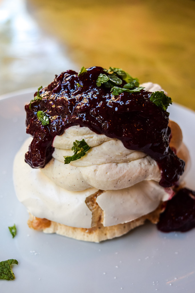 Brown Sugar Meringue with Maple Cream & Blueberry Compote at The Drapers Arms, Canterbury