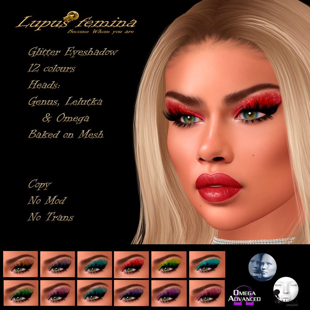 """Lupus Femina"" Glitter eyeshadow – Genus/Lelutka/Omega + BOM"