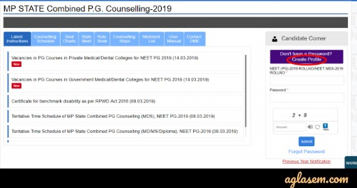 MP PG Counselling 2020