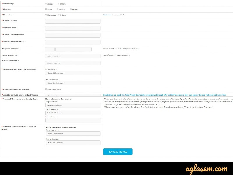Azim Premji University Application Form 2020