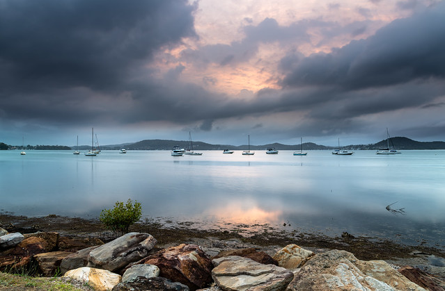 Clouds, Boats and Reflections - Bay Waterscape