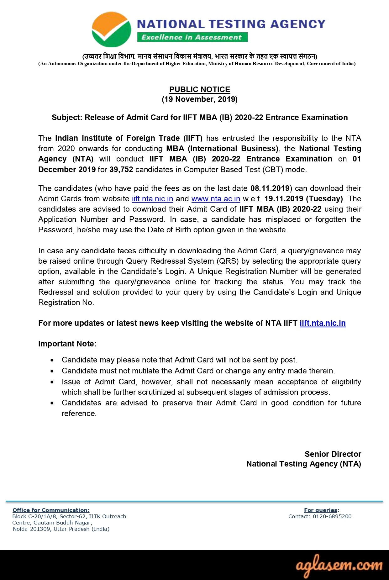IIFT 2020 Admit Card Notice