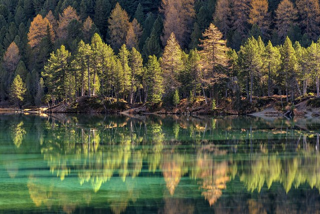 *colors and reflections of the lake Palpuogna*