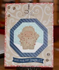 MFT Beast Friends, Scenic Safari, SSS Stitched Shapes, Lawn Fawn A Little Sparkle, Simple Wavy Banners, PPP Twine and Bows, Tonic Octagon Layers, Echo Park Snow Flurries stencil
