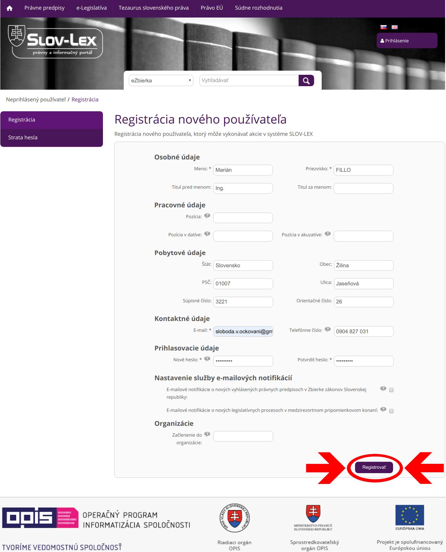 Slov-Lex / Registrácia nového používateľa: formulár