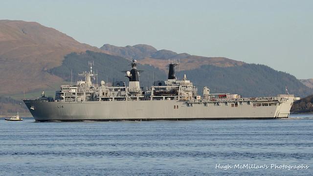 L14 HMS Albion, passing Gourock, Scotland.