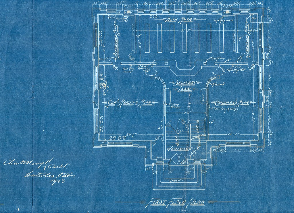 Blue print, first floor plan, Carnegie Library