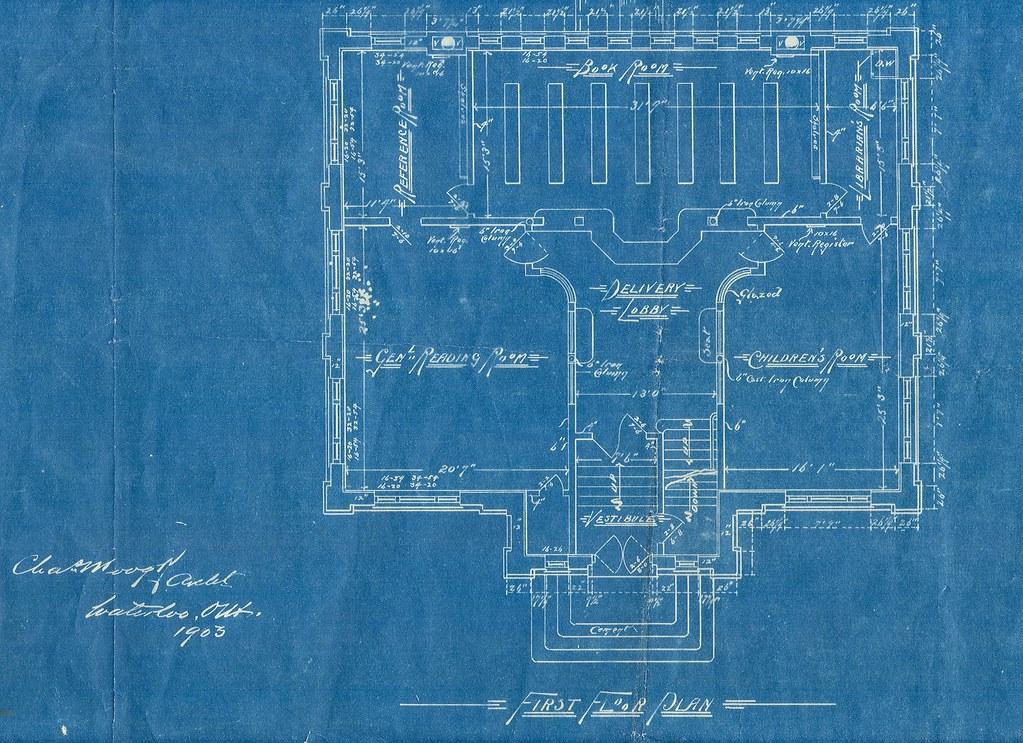 Blue print, first floor plan, Carnegie Library