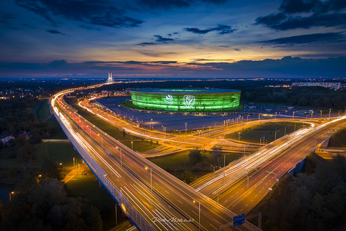 aerial architecture evening illumination outdoor stadium street summer wrocław lowersilesianvoivodeship poland high angle view city traffic no people outdoors road night highway urban scene illuminated long exposure elevated overpass bridge lights morning sunrise fire clouds beautiful light trails sunset sky