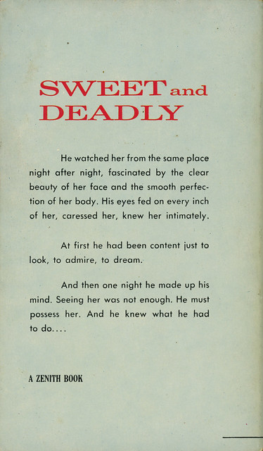 Zenith Books ZB-29 - Philip MacDonald & A. Boyd Correll - Sweet and Deadly (back)
