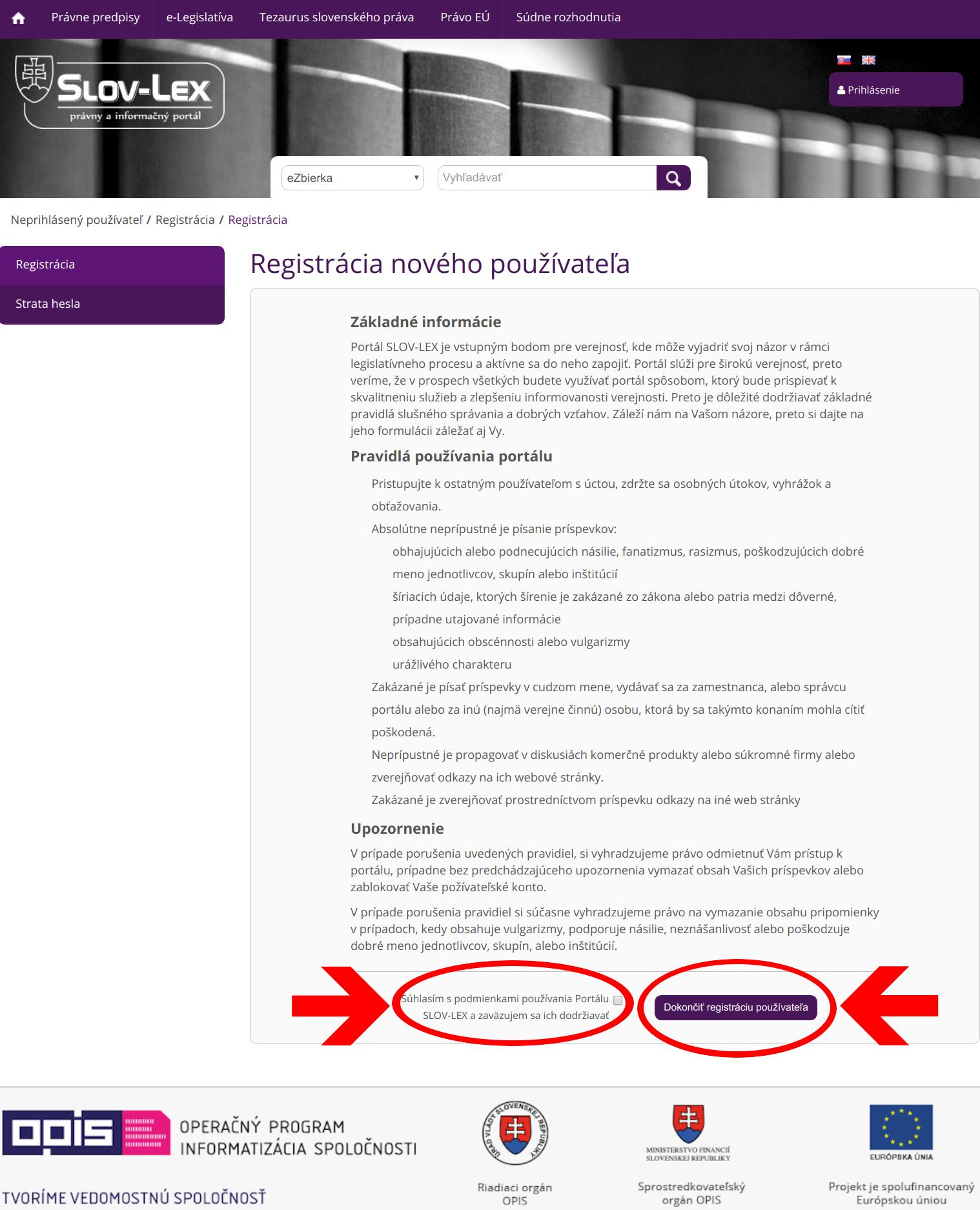 Slov-Lex / Registrácia nového používateľa: zmluvné podmienky