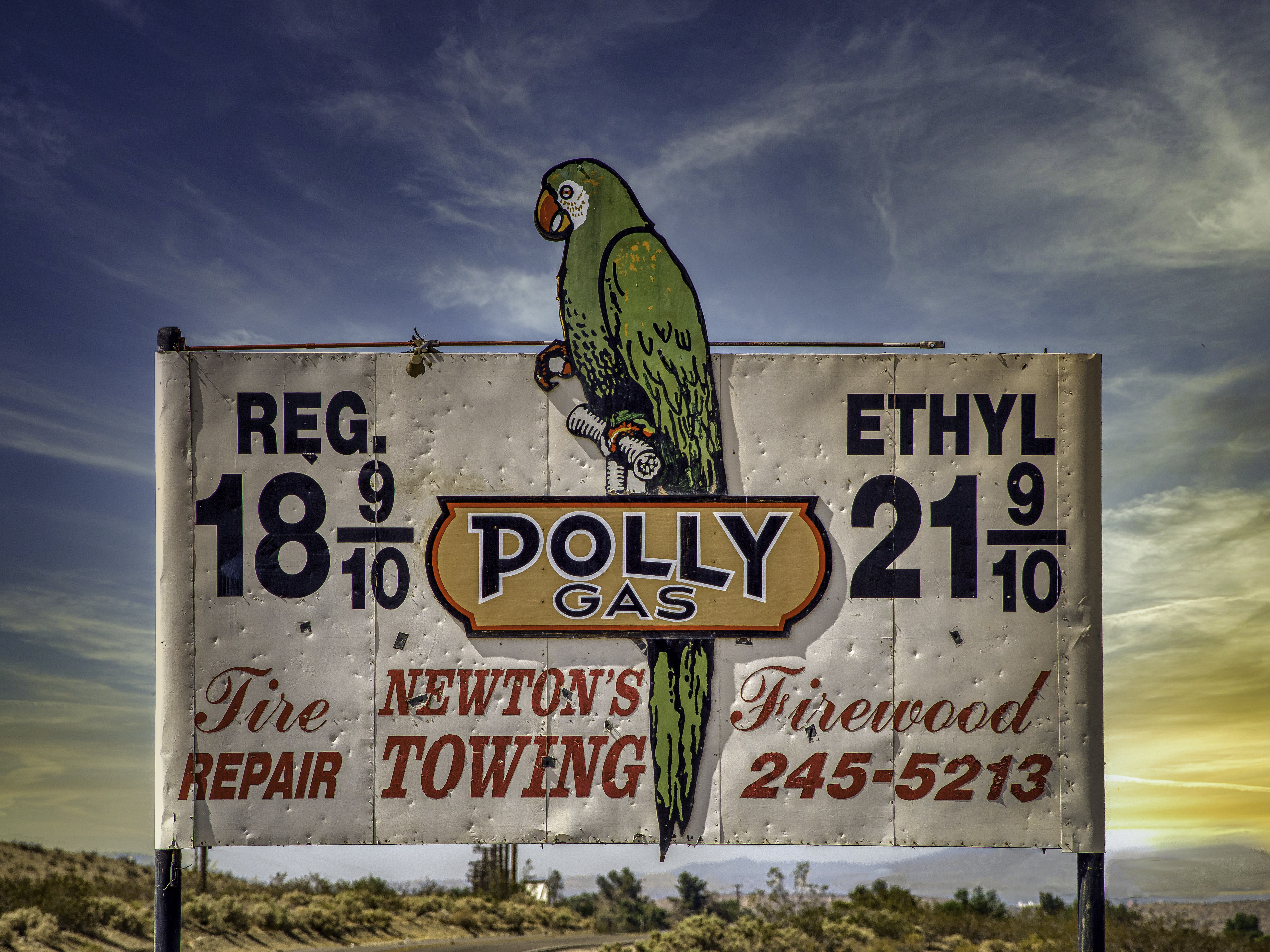 Polly Gas billboard - Helendale, California U.S.A. - June 5, 2018