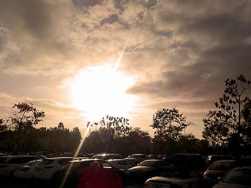 ranchosantamargarita california photo digital autumn fall clouds sunset parkinglot warmingfilter lensflare