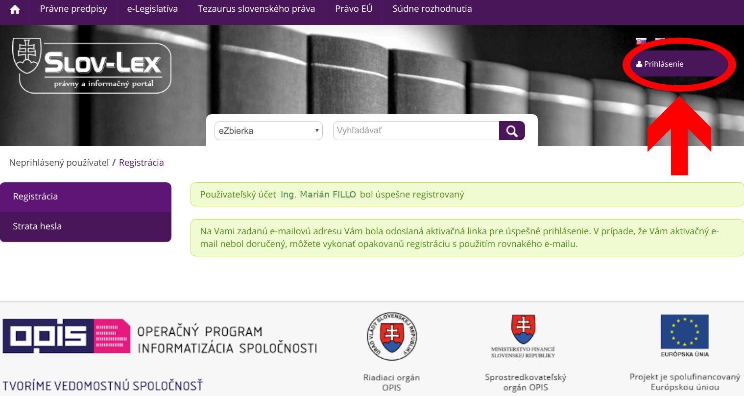 Slov-Lex / Registrácia nového používateľa: hotovo