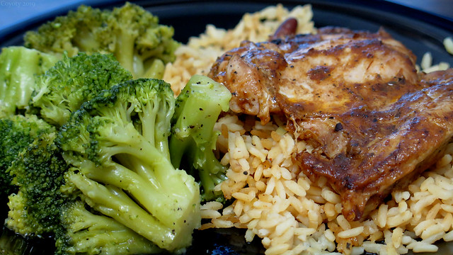 Jerk Chicken with Rice and Broccoli
