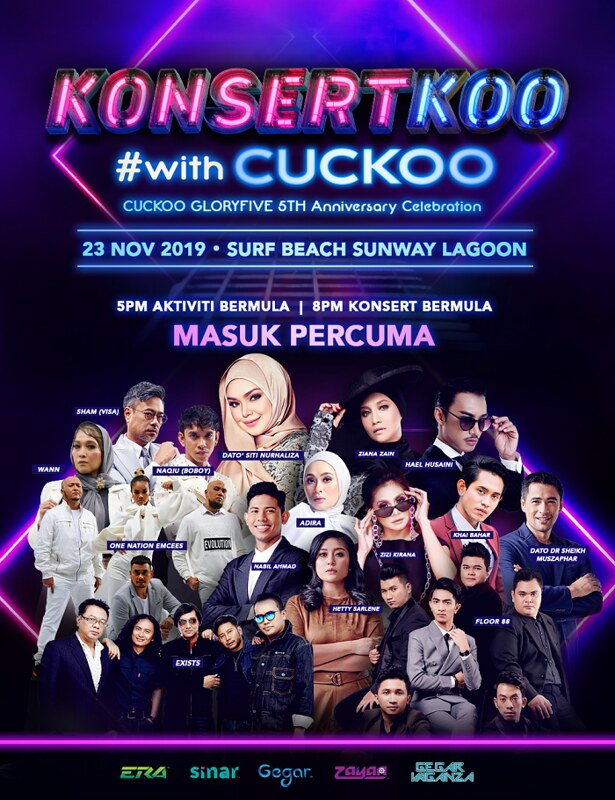 Siti Nurhaliza, Wann, Naqiu, Sham & One Nation Emcees Bakal Perform di KonsertKoo #withCuckoo