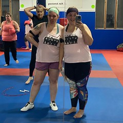 Sisters twinning :dancers:♀️ in our @NKOTB tank tops at the annual weigh in for the Beat the Bird challenge with @twincitiestkd. Will one of us win this round? Step by step... we shall see! [323/365]