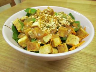 Soy-Mirin Tofu with Snow Peas and Peanut Sauce