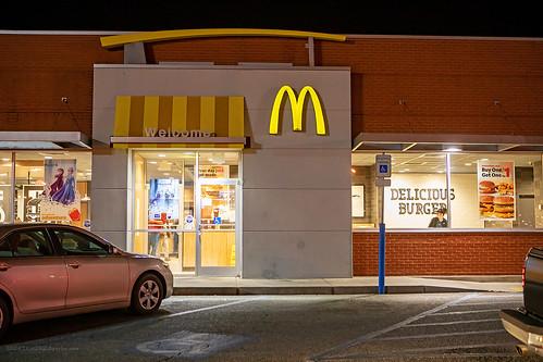 kansas ks coffeyville mcdonalds goldenarches golden arches fastfood fast food restaurant store semiswoosh semi swoosh building drivethru drive thru drivethrough through sign night light entrance door window eotf
