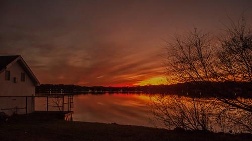 smack53 sunset evening eveningsky paintedsky autumn autumnseason fall fallseason nighttime night trees silhouettes lake water parsippany newjersey reflections nikon coolpix p7000 nikonp7000 nikoncoolpixp7000