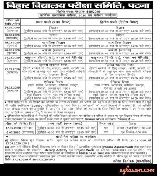 Bihar Board 10th Exam Date 2020