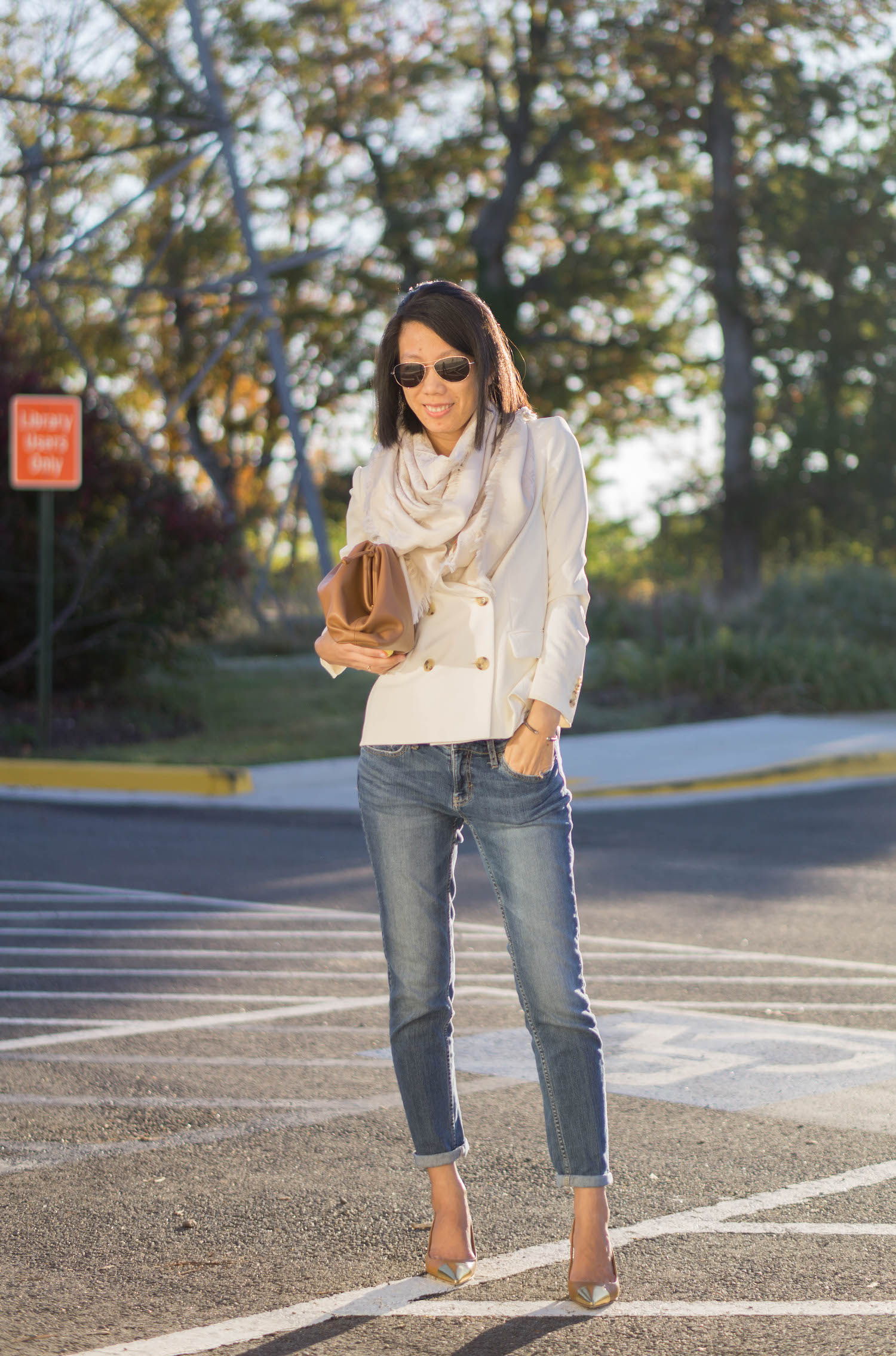 Tory Burch logo jacquard traveler scarf, J.Crew white double breasted blazer, Looks Like Summer Claudette leather crossbody bag, Banana Republic Factory girlfriend jeans, Tory Burch Penelope metallic cap-toe slingback pump