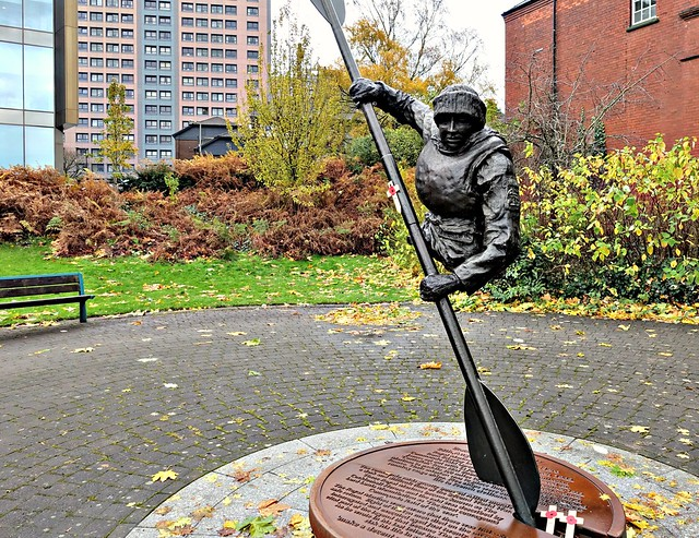 Sculpture of WW2 hero's memorial in honour of Stockport Royal Marine James Conway by Luke Perry in Stockport